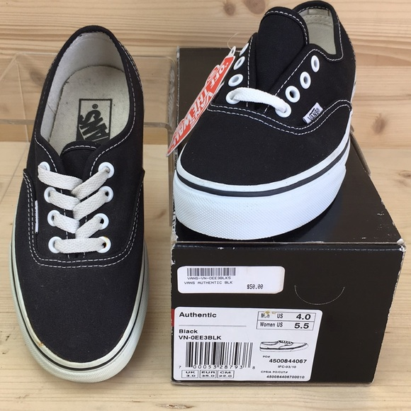 63939f9b6602 Vans Authentic Black Unisex Canvas Shoes 4 5.5 NIB